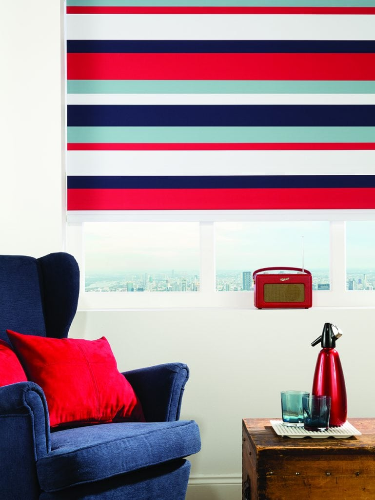 Stripy blue, red and white roller blinds