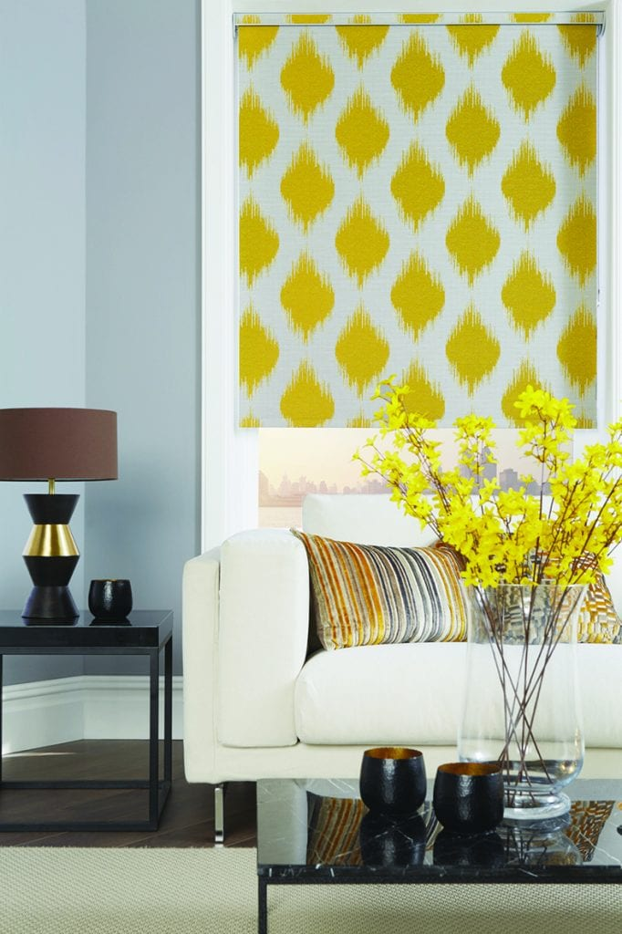 yellow patterned roller blind in the living room
