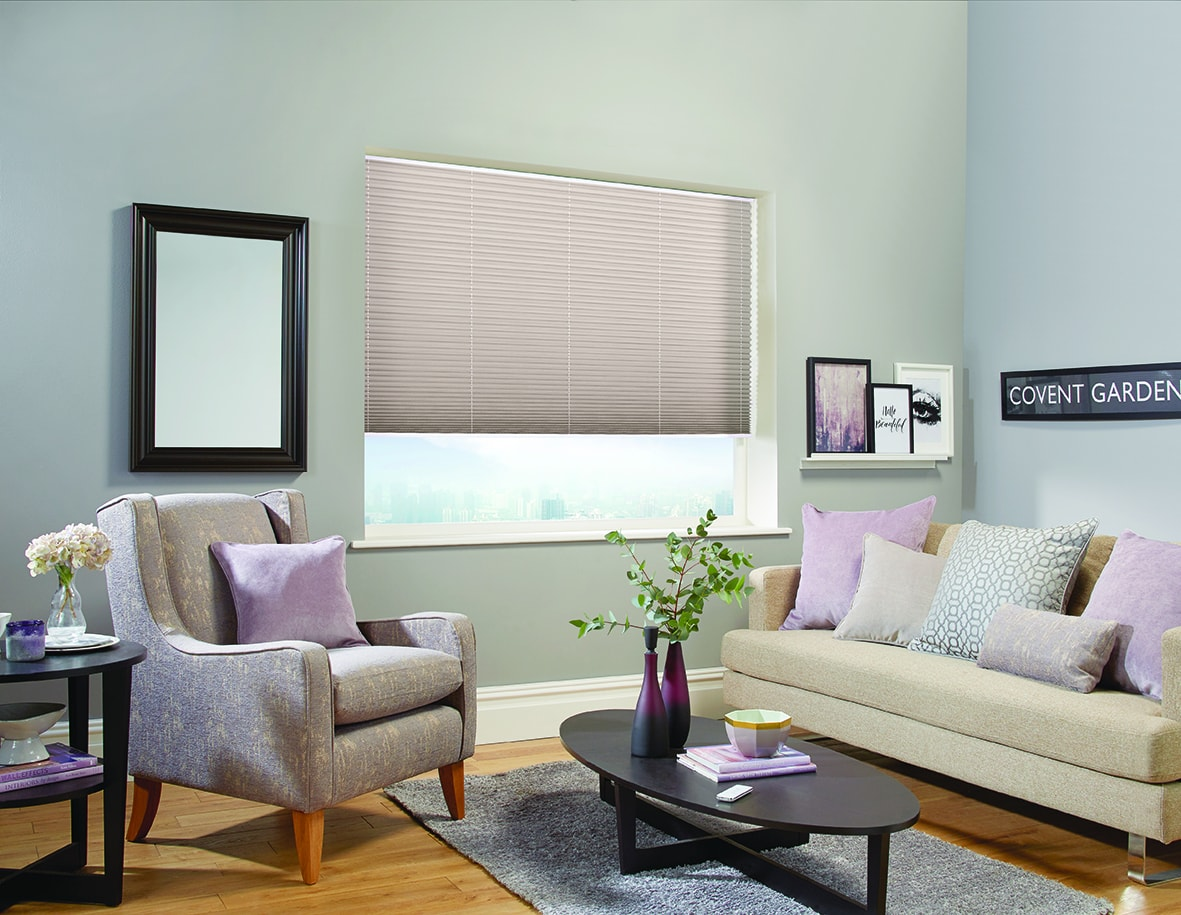 Pleated blinds in shot silk Portobello fabric by Louvolite