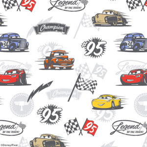 Fabric sample of Disney Pixar Cars fabric design by Louvolite