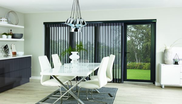 Allusion blinds in floor to ceiling windows and bi-fold doors - Blinds Norfolk - Norwich Sunblinds