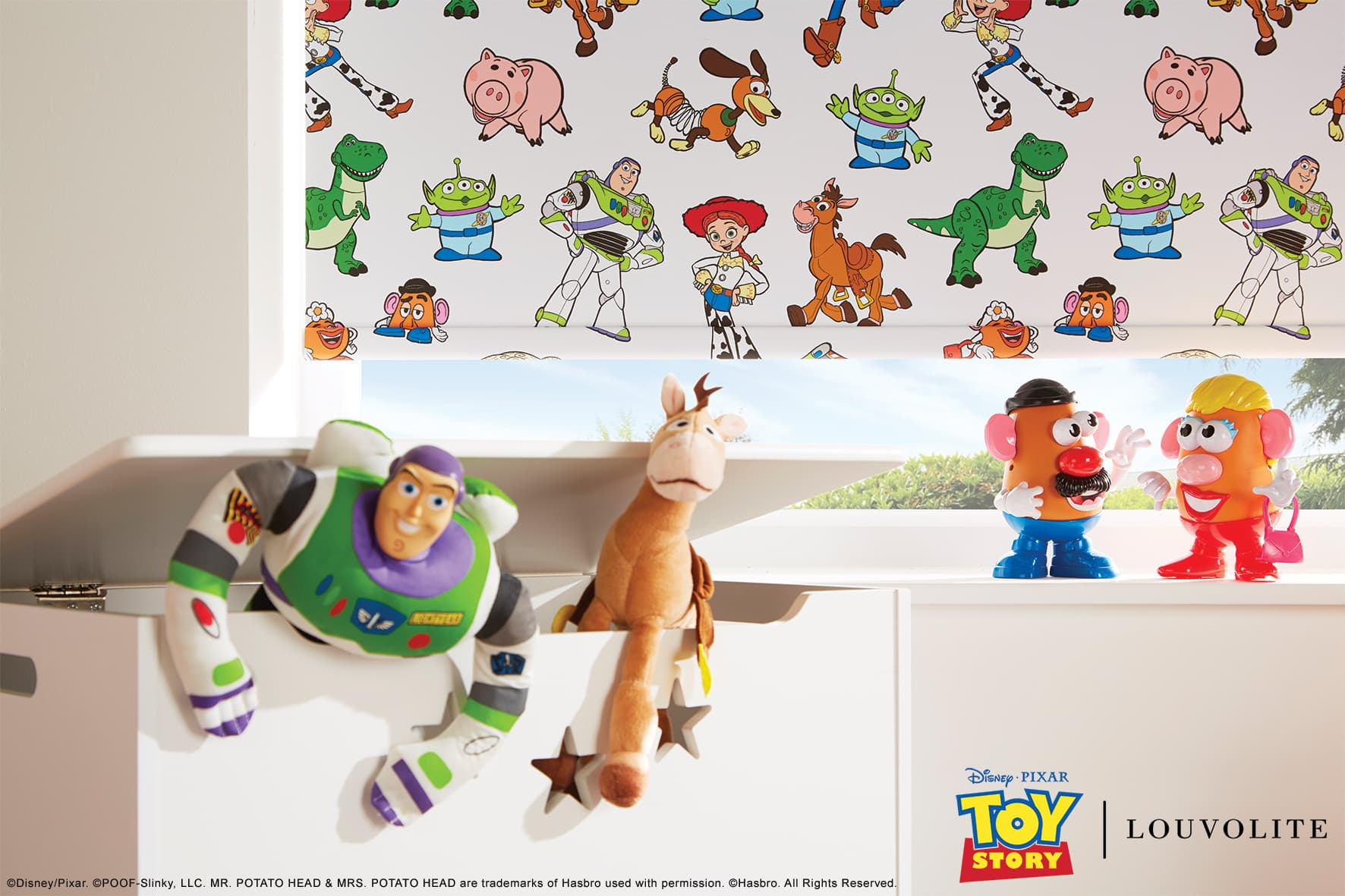 Disney Pixar Toy Story window blind, fabric by Louvolite