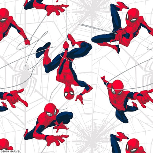 Close up of Marvel Spider-man fabric by Louvolite