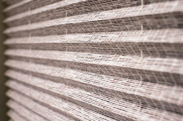 Close up of textured Pleated blind