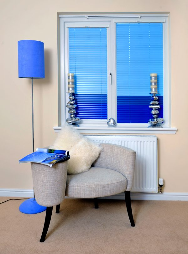 Two Toned blue aluminium venetian blinds