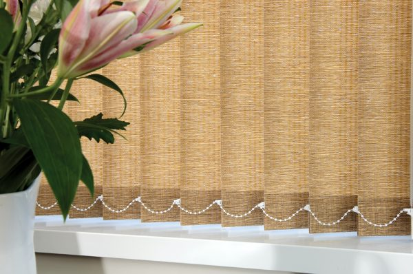 Stylish vertical blind, fabric by RA Irwin