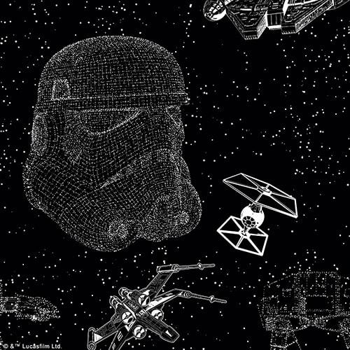 Star Wars™ Battle Scene digital fabric sample by Louvolite - Blinds Norfolk - Norwich Sunblinds
