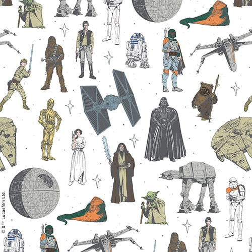 Star Wars™ Characters digital fabric sample by Louvolite - Blinds Norfolk - Norwich Sunblinds