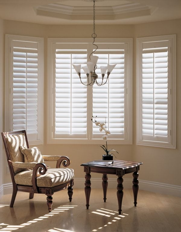 Cream shutters in bay window