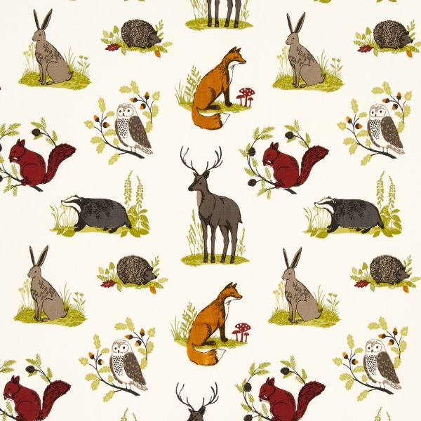 digital fabric sample with foxes, hares and deer on cream background