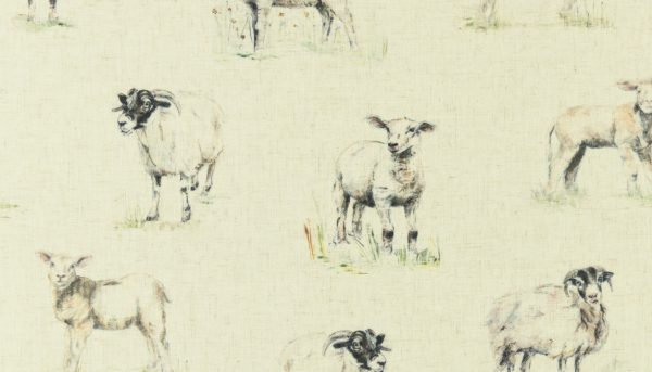 Fabric sample of sheep drawings on cream background