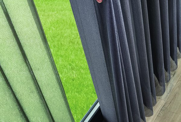 Pewter coloured louvres of Allusion blinds