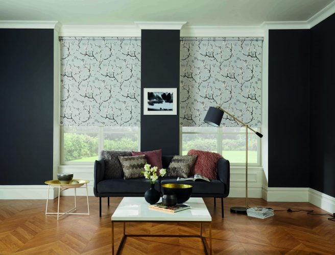 Roller blinds in Cherry blossom fabric - Blinds Norfolk - Norwich Sunblinds