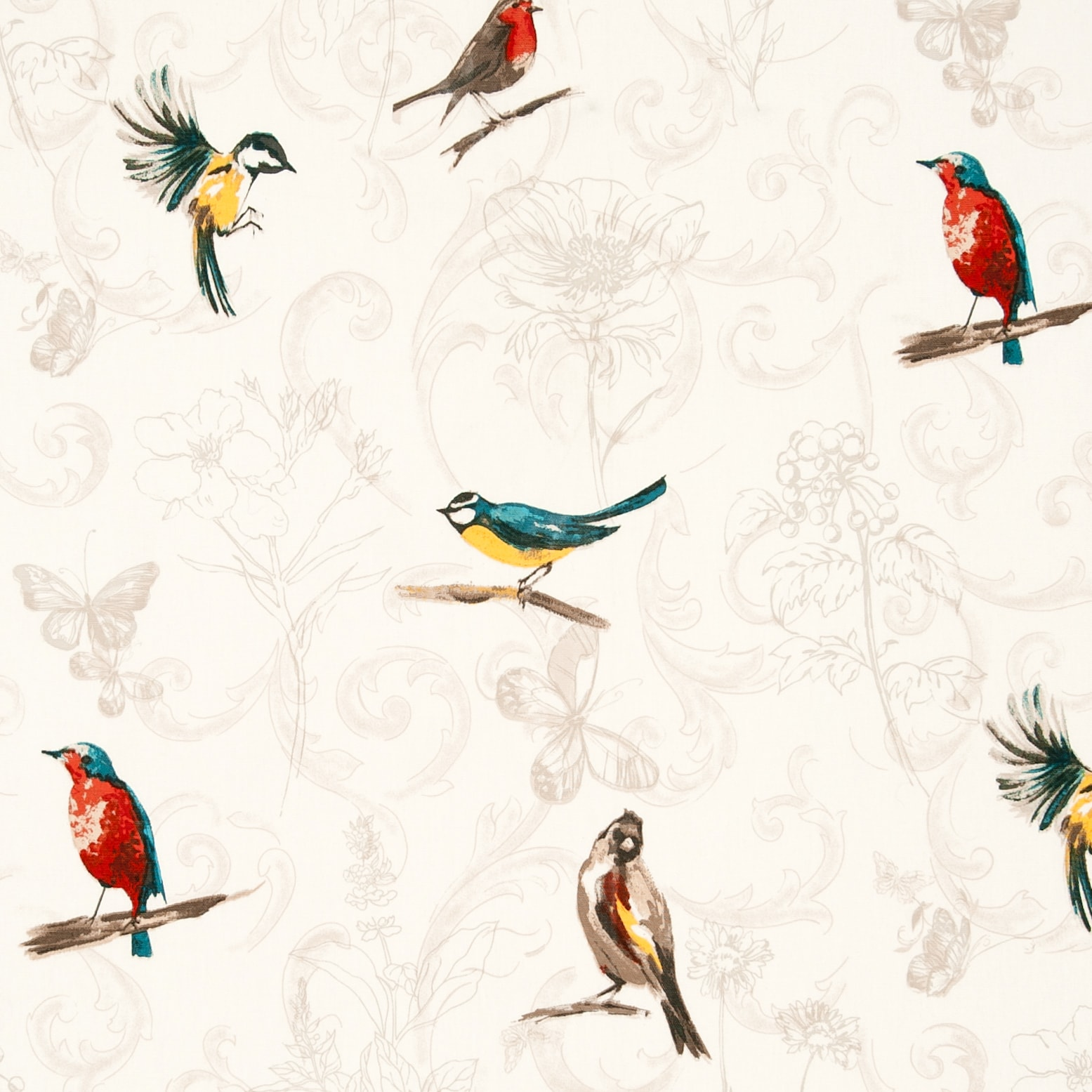 Fabric sample showing bluetits, robins and other brightly coloured birds on cream background