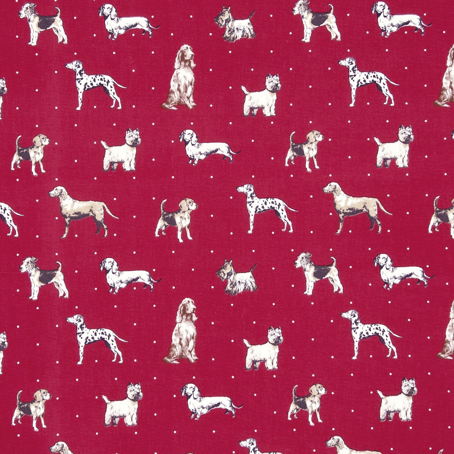 fabric sample - burgundy background with cream coloured dogs of all types