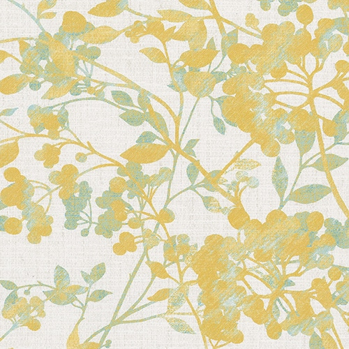 Digital fabric sample of Yellow ochre blossom design with light green leaves on a cream background.