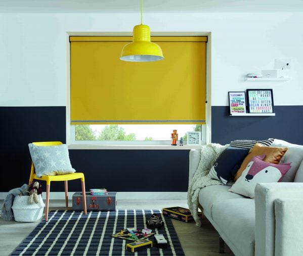 Bright yellow roller blind in family room