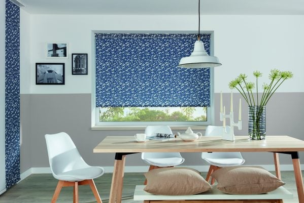 Blue patterned roller blind