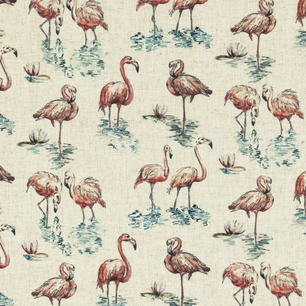 Digital fabric sample of pink flamingoes on cream background