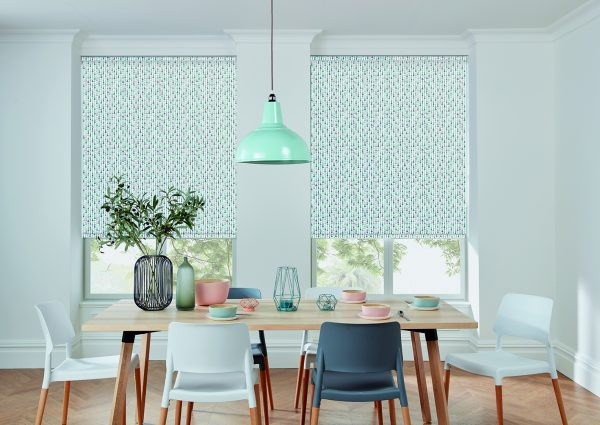 Peppermint patterned roller blinds in dining room
