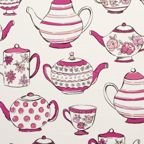 digital fabric sample showing pink teapots on a cream background