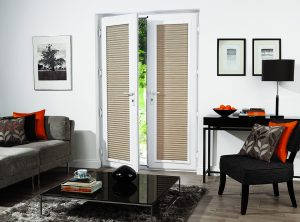 Perfect fit pleated blinds in fabric by Louvolite