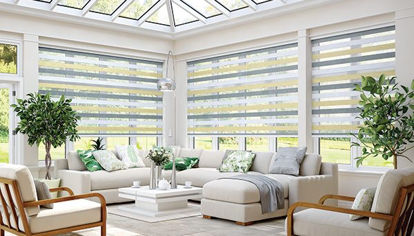 Motorised blinds with Vision Sorrento Sahara fabric by Louvolite