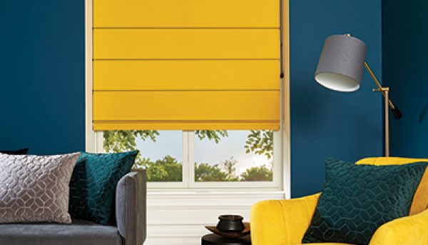 Roman blinds in Carnival Amber fabric by Louvolite