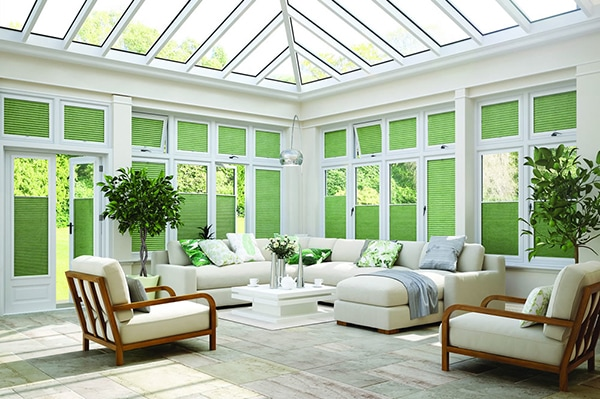 Pleated blinds for garden rooms from Louvolite