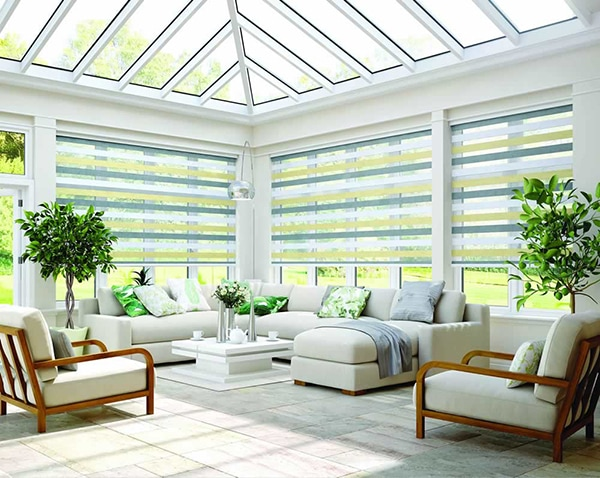 Vision blinds in Sorrento Sahara fabric by Louvolite