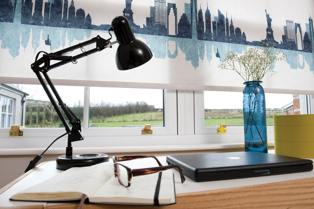 Cityscape roller blind in home office