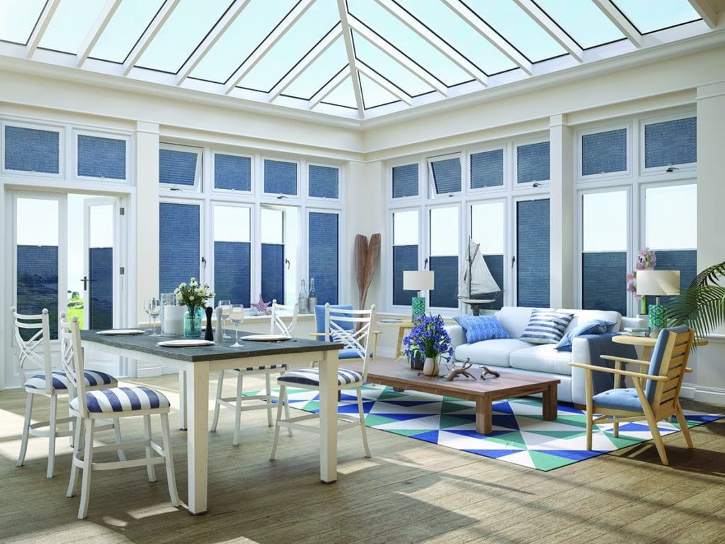 conservatory with blue perfect fit blinds