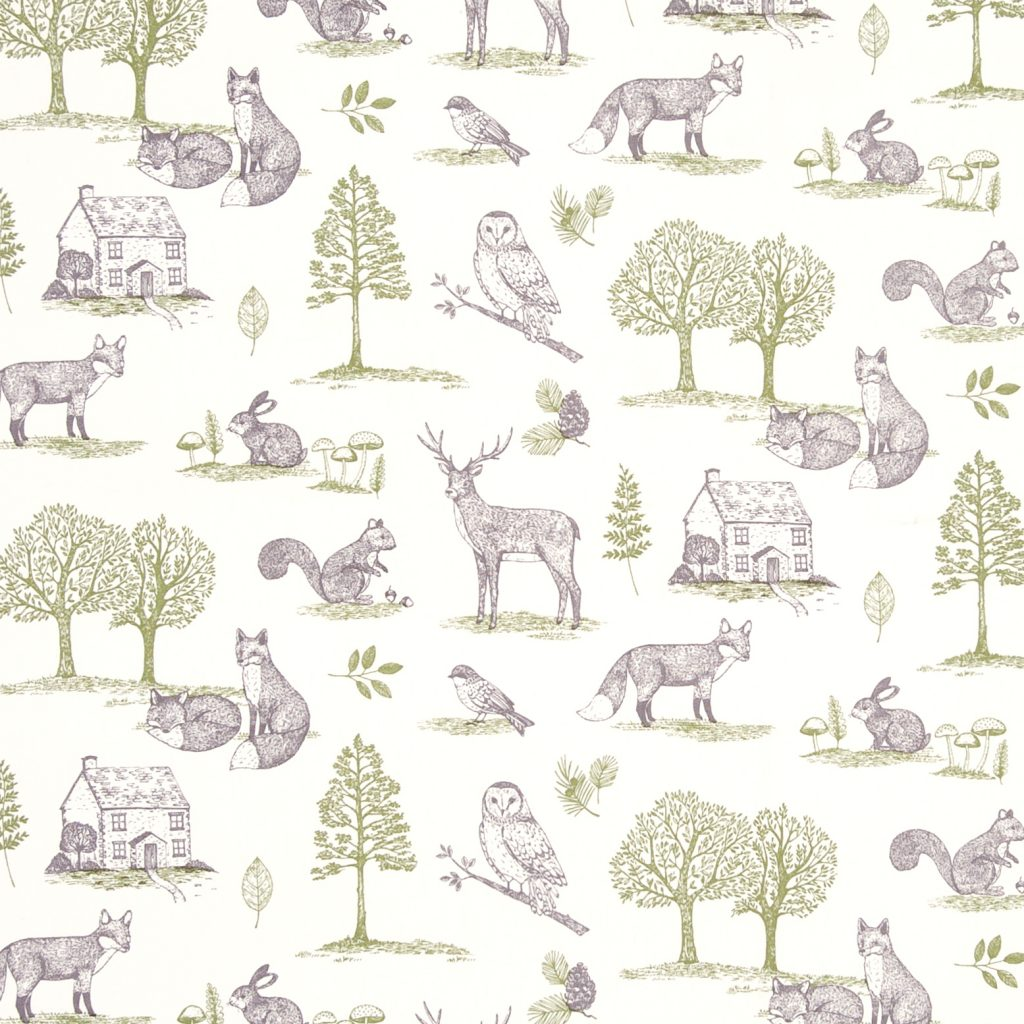 Digital fabric sample showing forest animals on a white background
