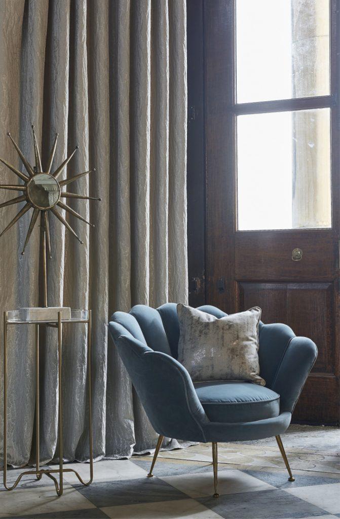Metallic cream full length curtains