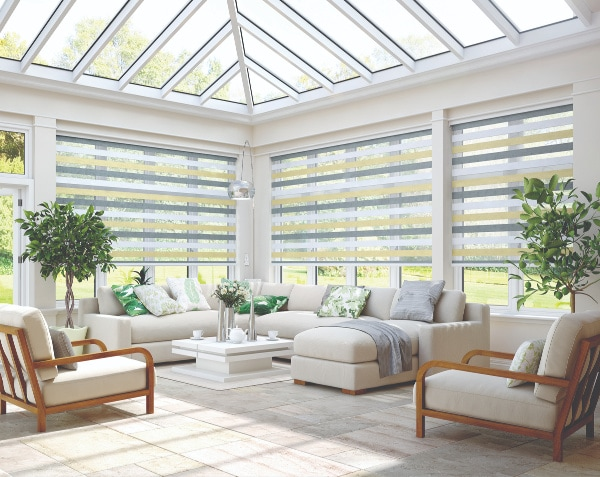 conservatory with vision blinds in grey and white