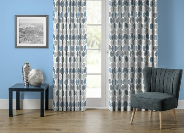 Indigo paterned curtains in lounge