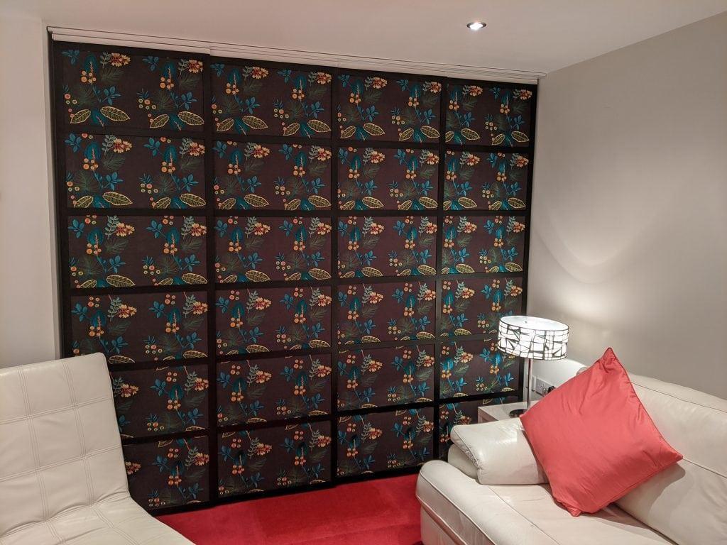 Japanese style pattern fabric shoji blind panels - Blinds Norfolk - Norwich Sunblinds