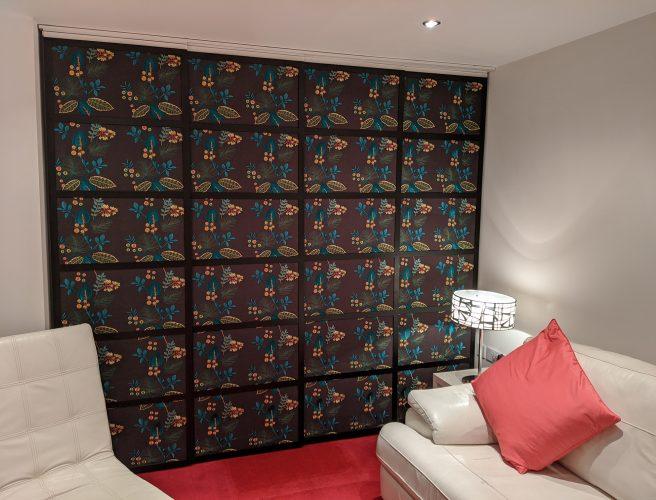 Japanese style pattern fabric shoji blind panels