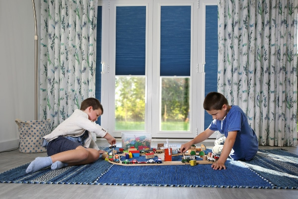 Blue Perfect fit blinds in living room