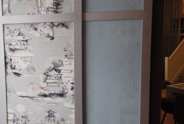 Japanese style grey pattern fabric and plain grey fabric in shoji blind panels