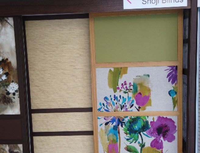 close up showing mix of fabrics in shoji blind display
