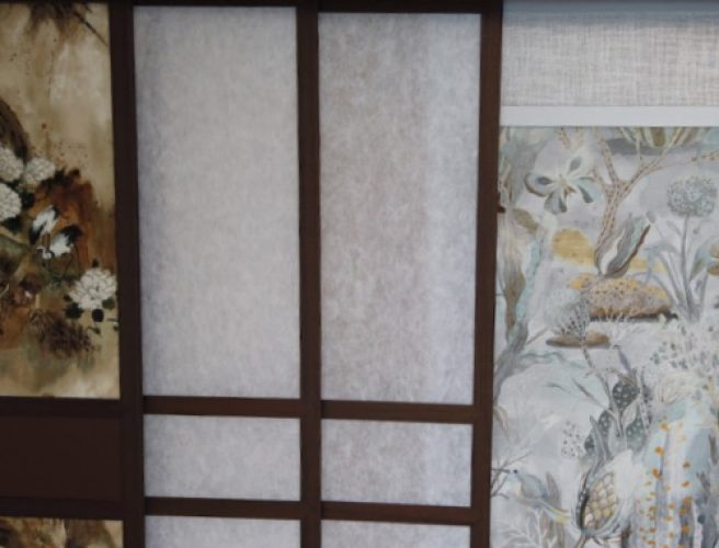 fabrics in the shoji blind display in the shorwroom