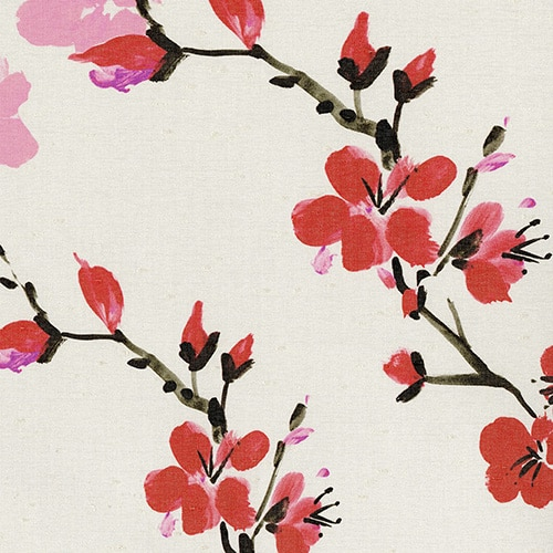 digital fabric sample of pink cherry blossom on cream background - Blinds Norfolk - Norwich Sunblinds