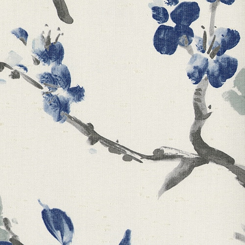 Digital fabric sample: Blue cherry blossom - Blinds Norfolk - Norwich Sunblinds