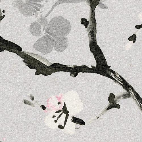 Digital fabric sample: cream cherry blosson against a grey background and black branch - Blinds Norfolk - Norwich Sunblinds