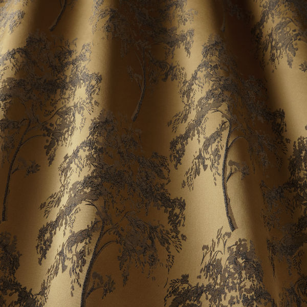 Digital fabric sample of gold fabric with black tree sketches. - Blinds Norfolk - Norwich Sunblinds