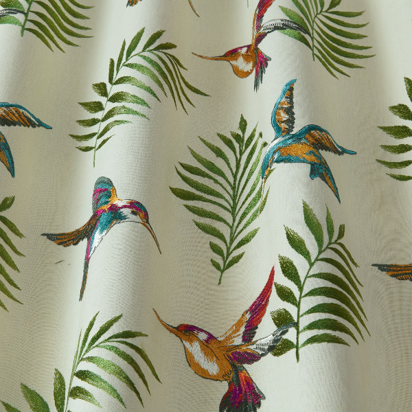 Digital fabric sample showing humming birds and green fronds on cream background - Blinds Norfolk - Norwich Sunblinds