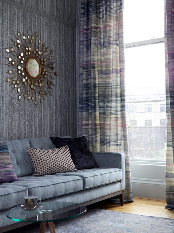 blue and taupe patterned floor to ceiling curtain in living room - Curtains Norfolk - Norwich Sunblinds