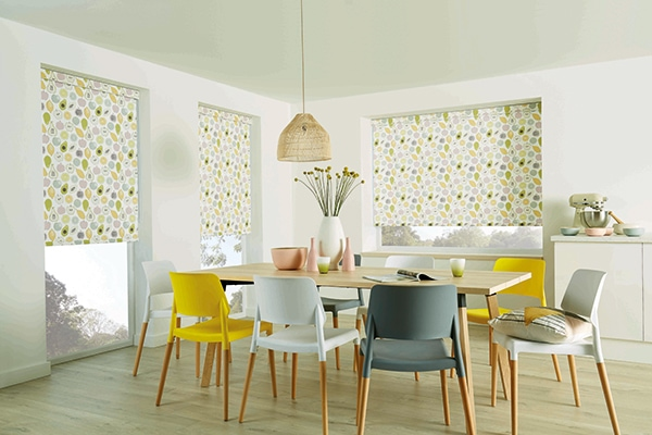 Roller blinds work in most rooms Fruity pastel fabric by Louvolite - Blinds Norfolk - Norwich Sunblinds