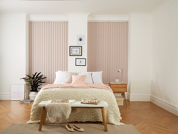 Neutral fabrics top the most wanted lists Vertical blinds in blush fabric by Louvolite - Blinds Norfolk - Norwich Sunblinds
